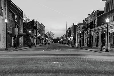 Photograph - Downtown Bentonville Arkansas Skyline In Black And White by Gregory Ballos