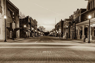Photograph - Downtown Bentonville Arkansas Skyline In Sepia by Gregory Ballos