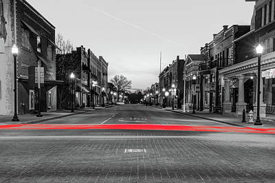 Photograph - Downtown Bentonville Arkansas Skyline With Red Light Trails by Gregory Ballos