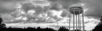 Photograph - Downtown Bentonville Arkansas Water Tower Sunset Panorama - Black And White by Gregory Ballos