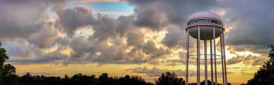 Photograph - Downtown Bentonville Arkansas Water Tower Sunset Panorama by Gregory Ballos