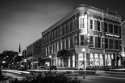 Photograph - Downtown Bentonville Black And White Evening Skyline by Gregory Ballos