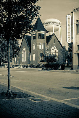 Photograph - Downtown Bentonville Cityscape - Dark Sepia Edition by Gregory Ballos