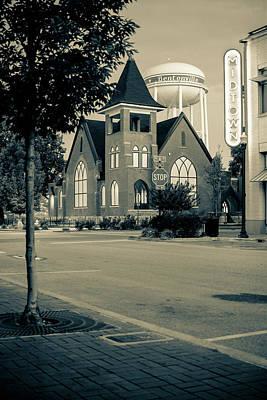 Photograph - Downtown Bentonville Cityscape - Dark Sepia Edition by Gregory Ballos