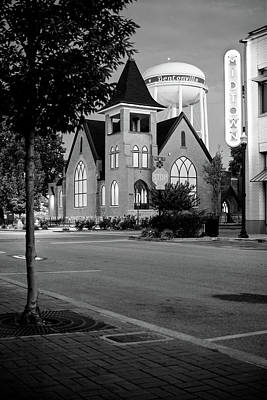 Photograph - Downtown Bentonville Cityscape In Black And White by Gregory Ballos