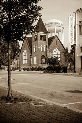 Photograph - Downtown Bentonville Cityscape - Sepia Edition by Gregory Ballos