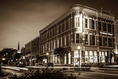 Photograph - Downtown Bentonville Evening Skyline - Vintage Sepia by Gregory Ballos