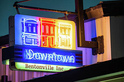 Photograph - Downtown Bentonville Inc. Neon Sign by Gregory Ballos