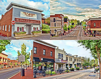 Photograph - Downtown Blacksburg - A Collage by Kerri Farley