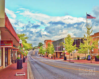 Photograph - Downtown Blacksburg - Main Street by Kerri Farley