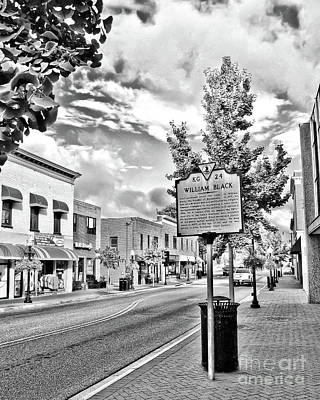 Photograph - Downtown Blacksburg With Historical Marker - Black And White by Kerri Farley