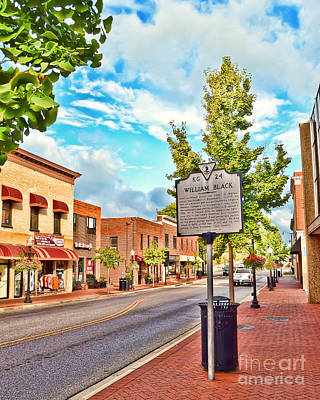 Photograph - Downtown Blacksburg With Historical Marker by Kerri Farley