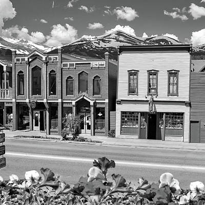 Colorado Ski Art Wall Art - Photograph - Downtown Breckenridge Colorado And Mountains - Square Format Bw by Gregory Ballos