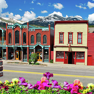 Colorado Ski Art Wall Art - Photograph - Downtown Breckenridge Colorado And Mountains - Square Format  by Gregory Ballos