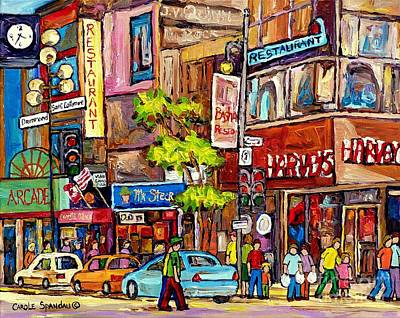 Painting - Downtown Burgers Harvey's Mr Steer Basha's Montreal Memories Canadian Art Colorful Streetscenes  by Carole Spandau