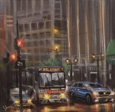 Painting - Downtown Bus by Tom Shropshire