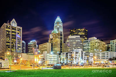Charlotte Skyline Photograph - Downtown Charlotte North Carolina City At Night by Paul Velgos