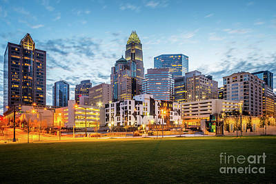 Charlotte Skyline Photograph - Downtown Charlotte Skyline At Dusk by Paul Velgos