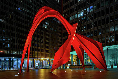 Photograph - Downtown Chicago Flamingo By Night by Justin Kelefas