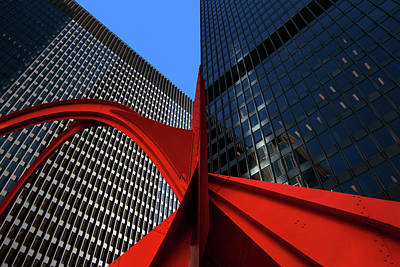 Photograph - Downtown Chicago Flamingo Perspective by Justin Kelefas
