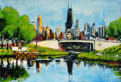 Painting - Downtown Chicago From Lincoln Park by Robert Reeves