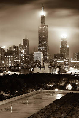 Architecture Photograph - Downtown Chicago Illinois Skyline - Sepia Edition by Gregory Ballos