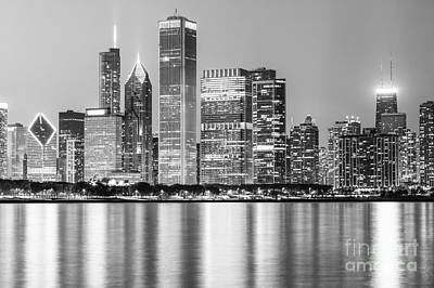 City Scenes Royalty-Free and Rights-Managed Images - Downtown Chicago Skyline Black and White Photo by Paul Velgos