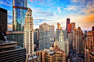 View. Chicago Photograph - Downtown Chicago Sunset by Jennifer Rondinelli Reilly - Fine Art Photography