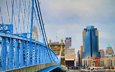 Mixed Media - Downtown Cincinnati And John Roebling Bridge by Dan Sproul