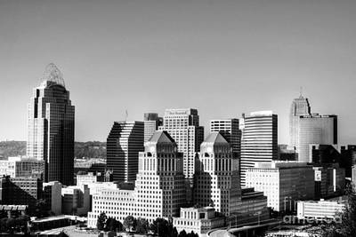 Photograph - Downtown Cincinnati Bw by Mel Steinhauer