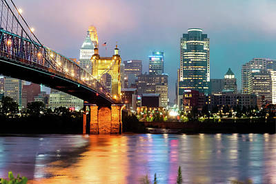 Photograph - Downtown Cincinnati City Skyline - Color by Gregory Ballos