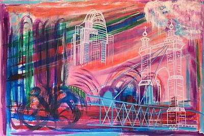 Roebling Bridge Painting - Downtown Cincinnati by Diane Pape