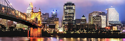 Photograph - Downtown Cincinnati Panorama Night Skyline by Gregory Ballos