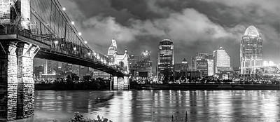 Photograph - Downtown Cincinnati Skyline Black And White by Gregory Ballos