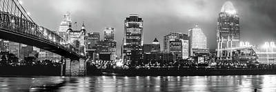 Photograph - Downtown Cincinnati Skyline Panoramic At Night - Black And White by Gregory Ballos