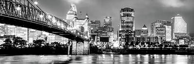 Photograph - Downtown Cincinnati Skyline Panoramic Black And White by Gregory Ballos