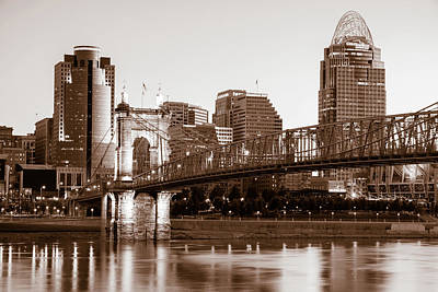 Photograph - Downtown Cincinnati Skyline Roebling Bridge - Sepia Edition by Gregory Ballos