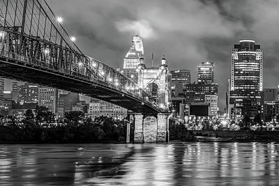 Print featuring the photograph Downtown City Skyline Of Cincinnati Ohio Black And White by Gregory Ballos