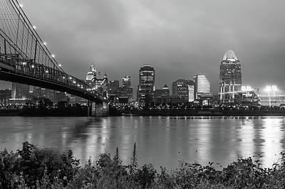 Photograph - Downtown City Skyline Of Cincinnati Ohio - Usa - Black And White by Gregory Ballos