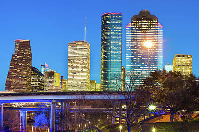 Photograph - Downtown City Skyline Of Houston Texas by Gregory Ballos