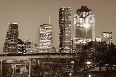 Photograph - Downtown City Skyline Of Houston Texas - Sepia by Gregory Ballos