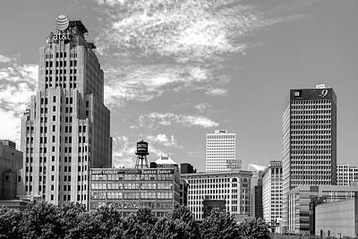 Photograph - Downtown Cleveland Ohio City Skyline In Black And White by Gregory Ballos