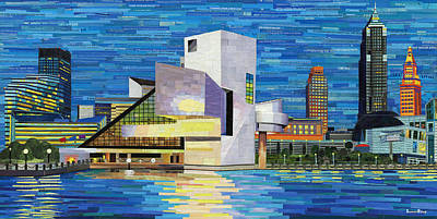 Mixed Media - Downtown Cleveland Skyline  by Shawna Rowe