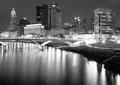 Photograph - Downtown Columbus Ohio Capitol City Skyline - Black And White by Gregory Ballos