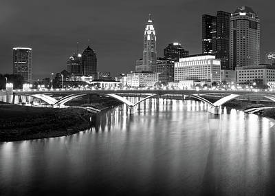 Photograph - Downtown Columbus Ohio Capitol Skyline - Black And White by Gregory Ballos
