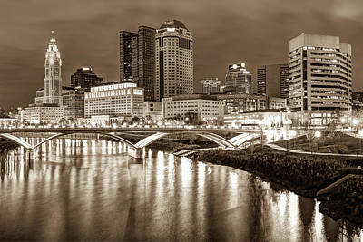 Photograph - Downtown Columbus Ohio Night Skyline - Sepia Cityscape by Gregory Ballos