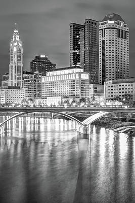 Photograph - Downtown Columbus Skyline And Bridge In Black And White by Gregory Ballos