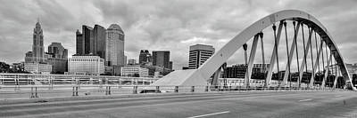 Photograph - Downtown Columbus Skyline Panorama - Black And White by Gregory Ballos