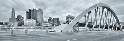 Photograph - Downtown Columbus Skyline Panorama - Selenium by Gregory Ballos