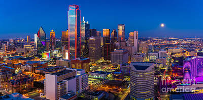 Downtown Dallas Panorama Print by Inge Johnsson